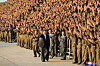 North Korean leader Kim Jong Un greets military members on the 73rd anniversary of the country's founding, in Pyongyang, in this undated image supplied by North Korea's Korean Central News Agency on September 9, 2021.