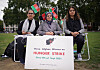 Three Afghan mothers who have been on hunger strike since Thursday September 9 - in protest against the Taliban takeover of Afghanistan - in Parliament Square.