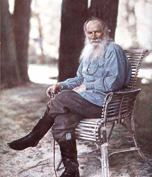 Leo Tolstoy in Yasnaya Polyana, May 23, 1908. An early colour photography example in Russia Photo - By Yevgeny Kassin. Courtesy - www.guardian.co.uk