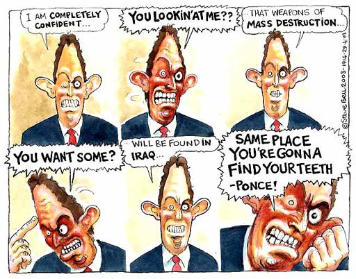 Blair on weapons of mass destruction in Iraq, cartoon by Steve Bell