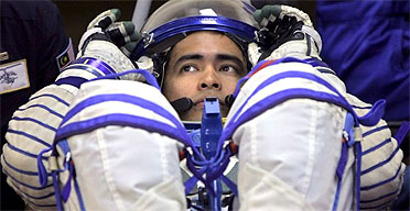 Sheikh Muszaphar Shukor during the pre-launch dressing at Baikonur cosmodrome in Kazakhstan