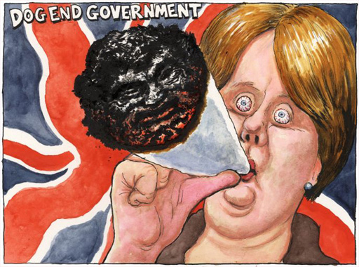 Steve Bell\'s comment on Labour lunge for Daily Mail approval with meaningless tinkering with Canabis drug classification