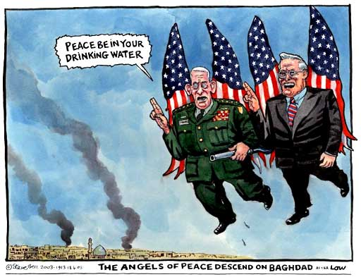 Rumsfeld in Iraq, cartoon by Steve Bell