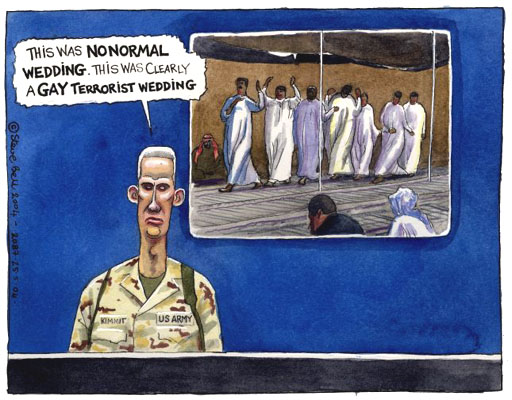 US justifying killing civilians in Iraq, cartoon by Steve Bell