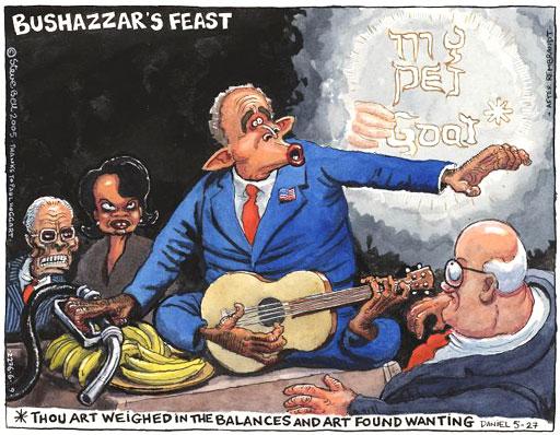 Cartoon by Steve Bell of Bush