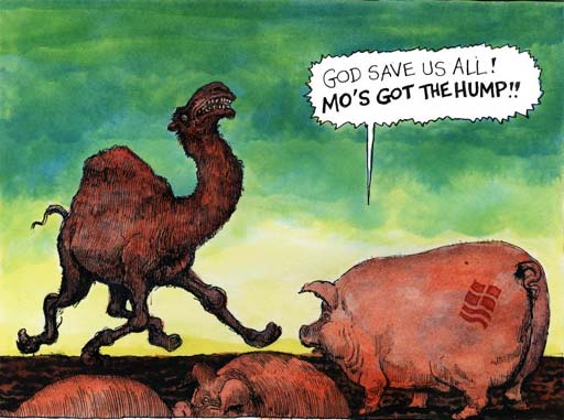03.02.06: Steve Bell on Muslim outrage at Mohammed cartoons