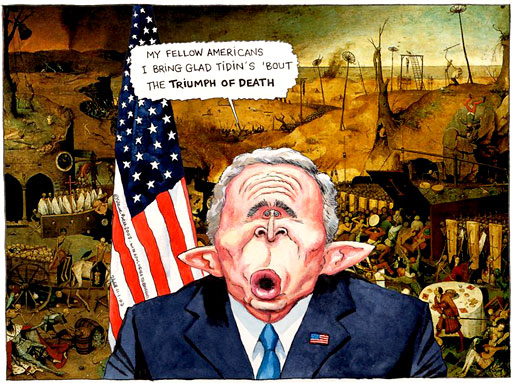George W Bush's speaking, cartoon by Steve Bell