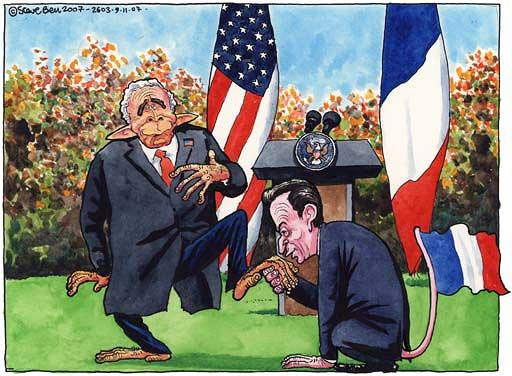 Bush and Sarkozy, cartoon