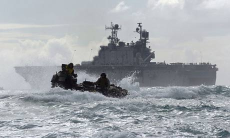 An amphibious assault vehicle leaves the USS Peleliu, which was used to detain prisoners, according to the human rights group Reprieve