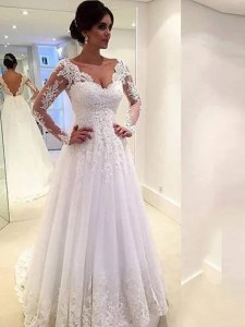 Wedding Dresses Online  Buy Cheap Wedding Dresses For Bride   Hebeos     Ball Gown V neck Long Sleeves Lace Court Train Tulle Wedding Dresses