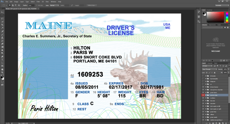 Maine driving licence psd template