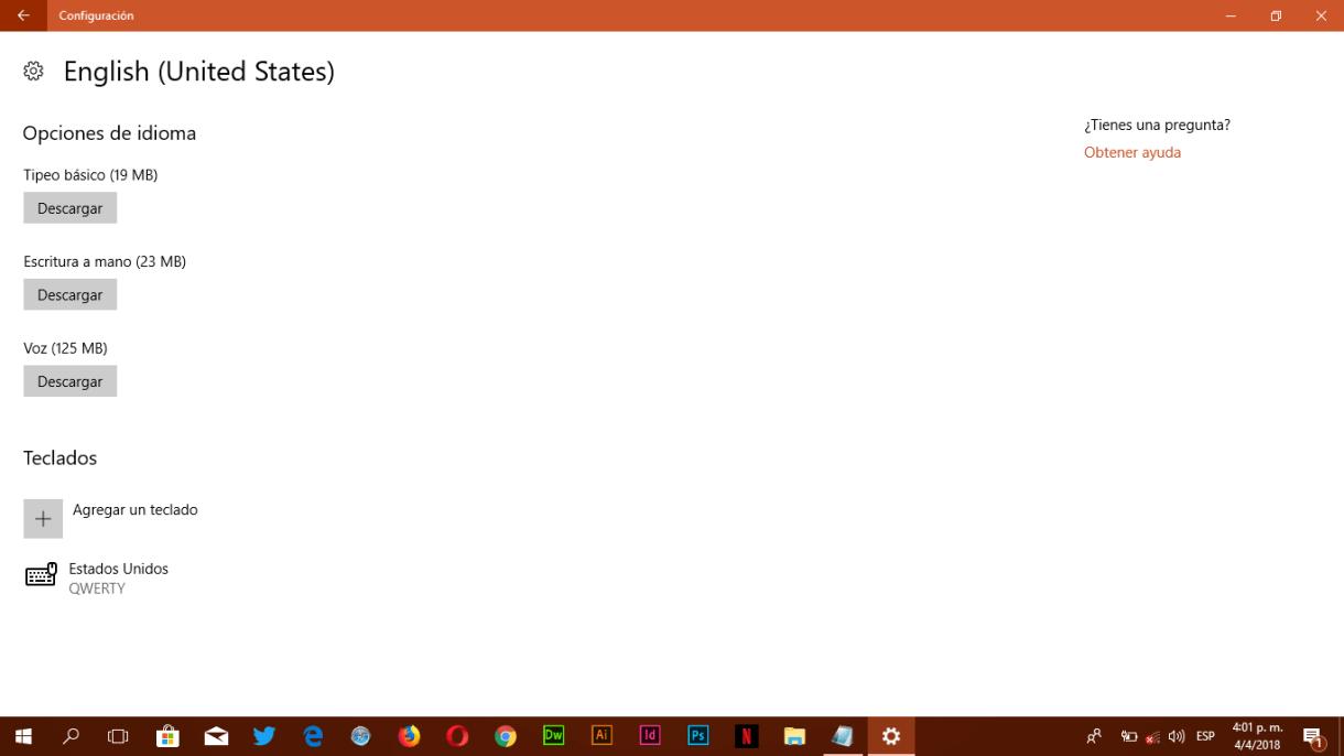 Configuración de Idioma de Teclado - Descarga de idioma