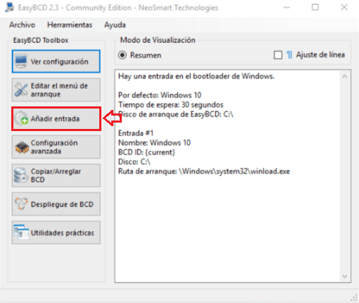 Instalar Windows sin USB ni CDs - Interfaz de EasyBCD