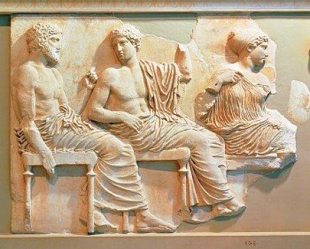 Pahatan di kuil Parthenon yang menggambarkan Dewa Poseidon, Dewa Apollo dan Dewa Artemis dalam kehidupan sehari-hari para dewa