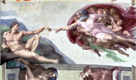 Lukisan penciptaan Adam dalam lukisan Michelangelo, 1510.