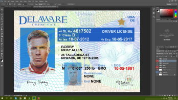 Delaware driving licence psd template