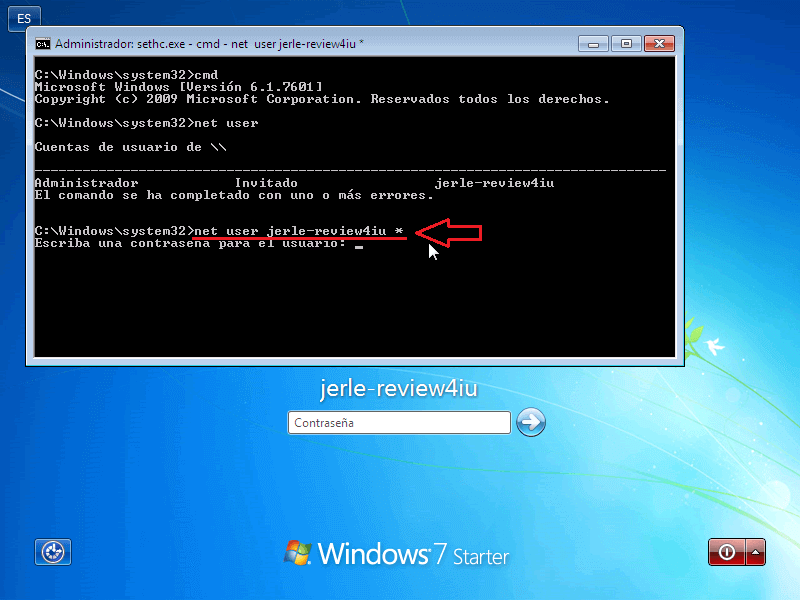 Net User password - Borrar clave en Windows 7