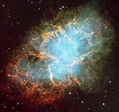 Crab Nebula yang merupakan sisa ledakan sebuah supernova pada jarak 6 ribu tahun cahaya dari bumi
