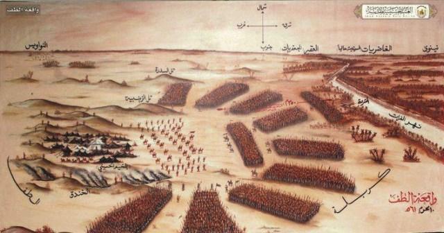 Rombongan Husein yang berjumlah sekitar 100 orang dikepung puluhan ribu pasukan Yazid di Karbala