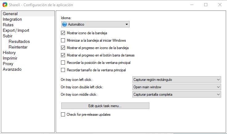ShareX - Configuraciones
