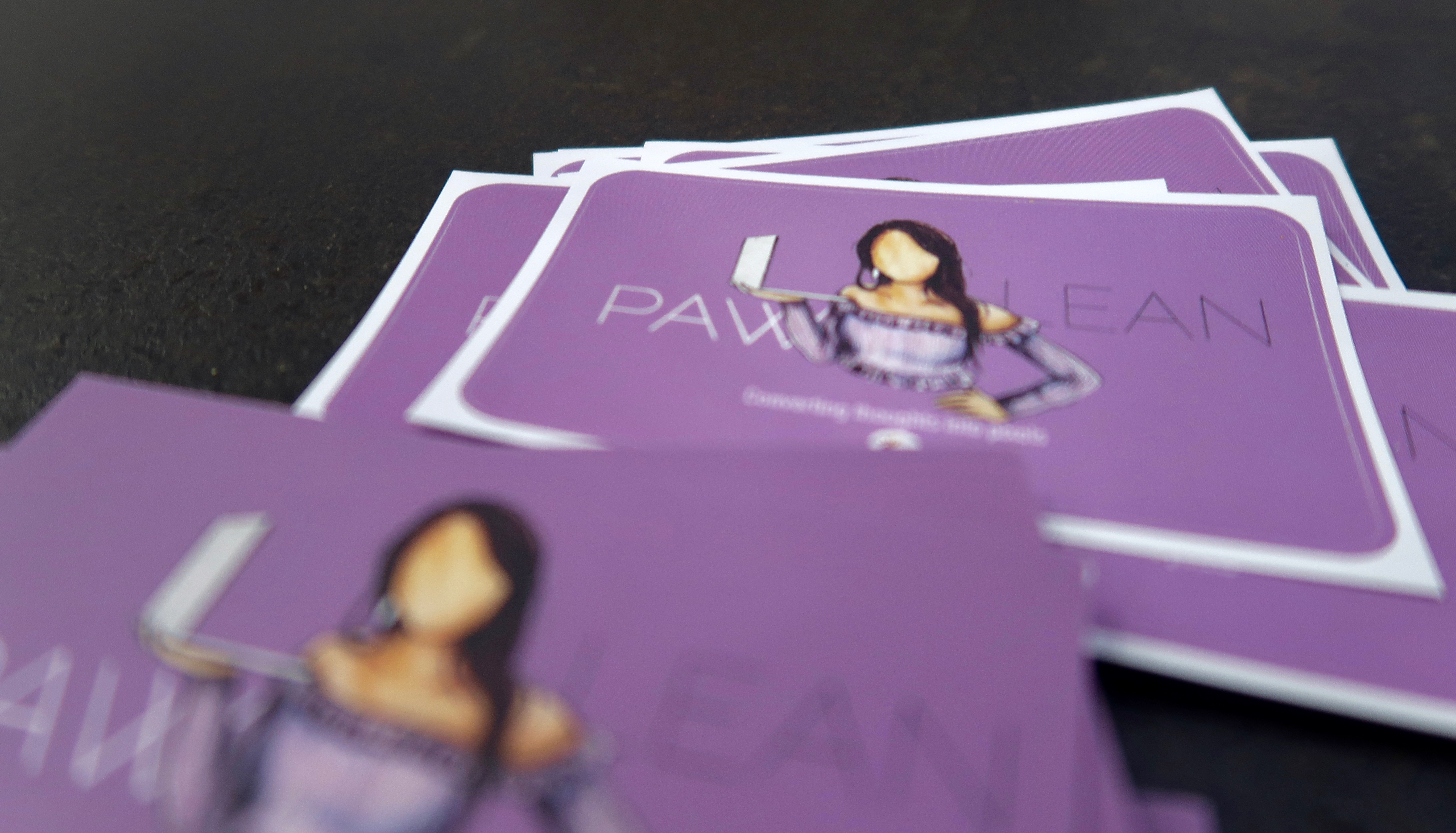 Pawlean stickers and business cards