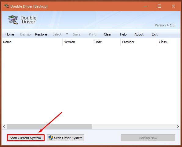 Respaldar Driver - Scan Current System
