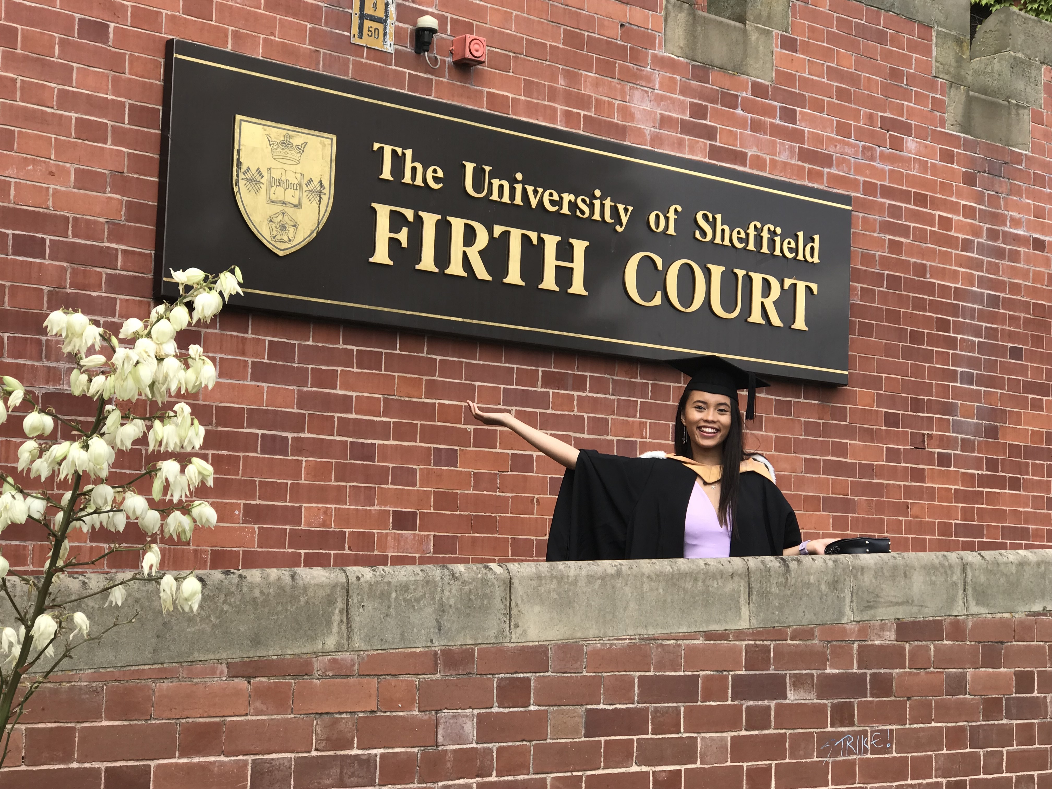 Outside of Firth Court, The University of Sheffield as an official graduate