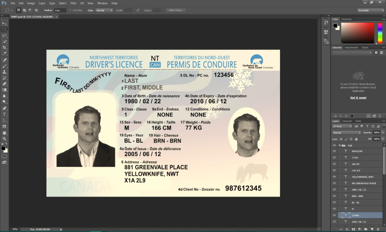NWT Canada Driving licence psd template