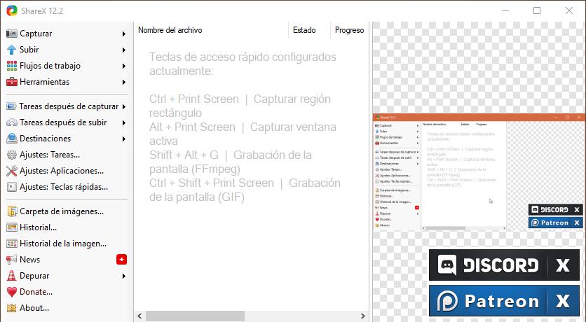 ShareX - Interfaz