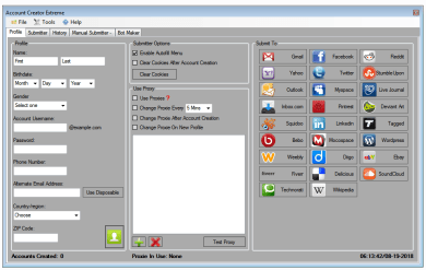 Account Creator Extreme 4.2 with 25+ Supported Websites