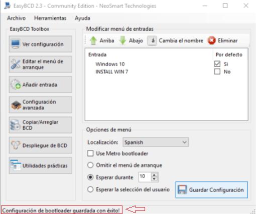 Instalar Windows sin USB ni CDs - Cambios guardados con éxito