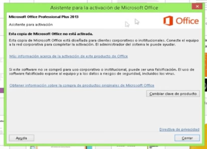 clave activacion de producto office 2013