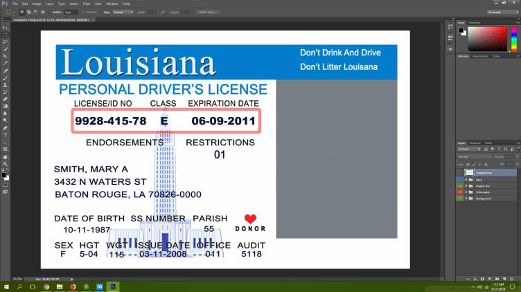 Louisiana driving licence psd template
