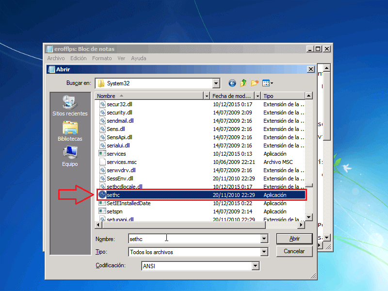 Archivo Sethc - Borrar clave en Windows 7