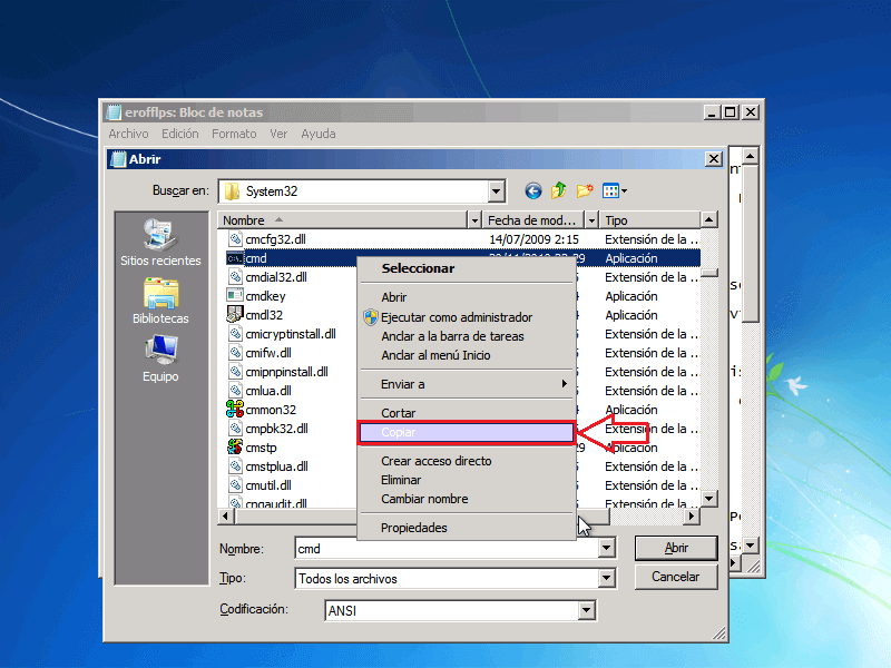 Copiar archivo CMD - Borrar clave en Windows 7