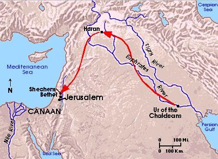 Jalur migrasi keluarga Terah, yang dilanjutkan Ibrahim