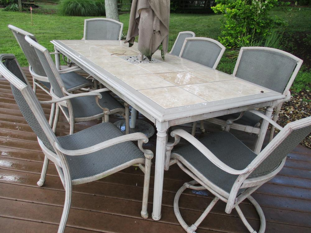 tile top patio table with umbrella and