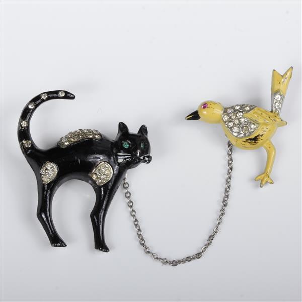 Coro Adolph Katz Cat Chasing Bird Chatelaine Double Pin Wi