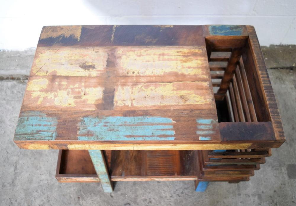 small side table with magazine rack made from reclaimed teak