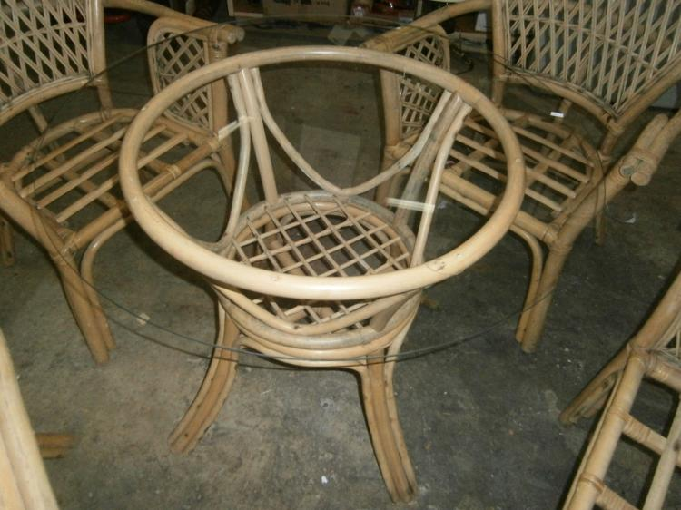 bent bamboo patio chairs glass top table