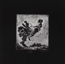 kara walker b 1969 lift etching and white ink on black wove paper 6 9 16 x 5 7 8 inches plate size