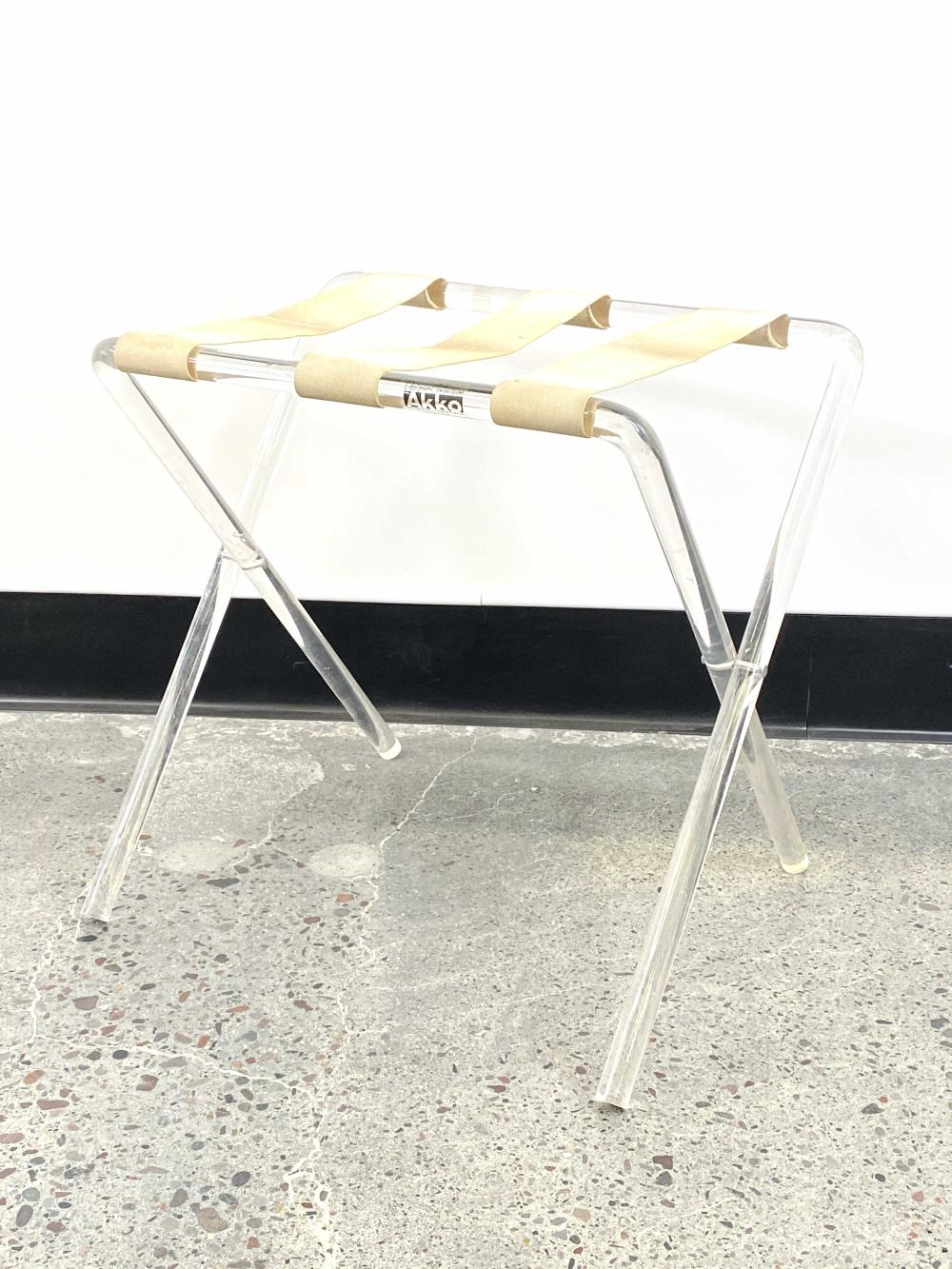 mid century modern akko lucite luggage rack