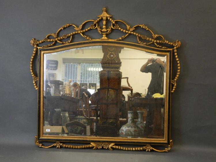 A Large Antique Style Giltwood And Ebonised Wall Mirror With