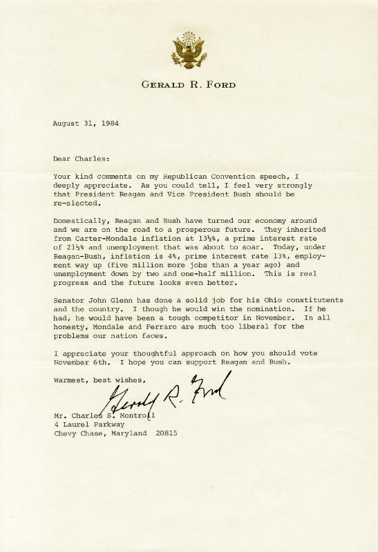 President Gerald R. Ford - Typed Letter Signed 08/31/1984