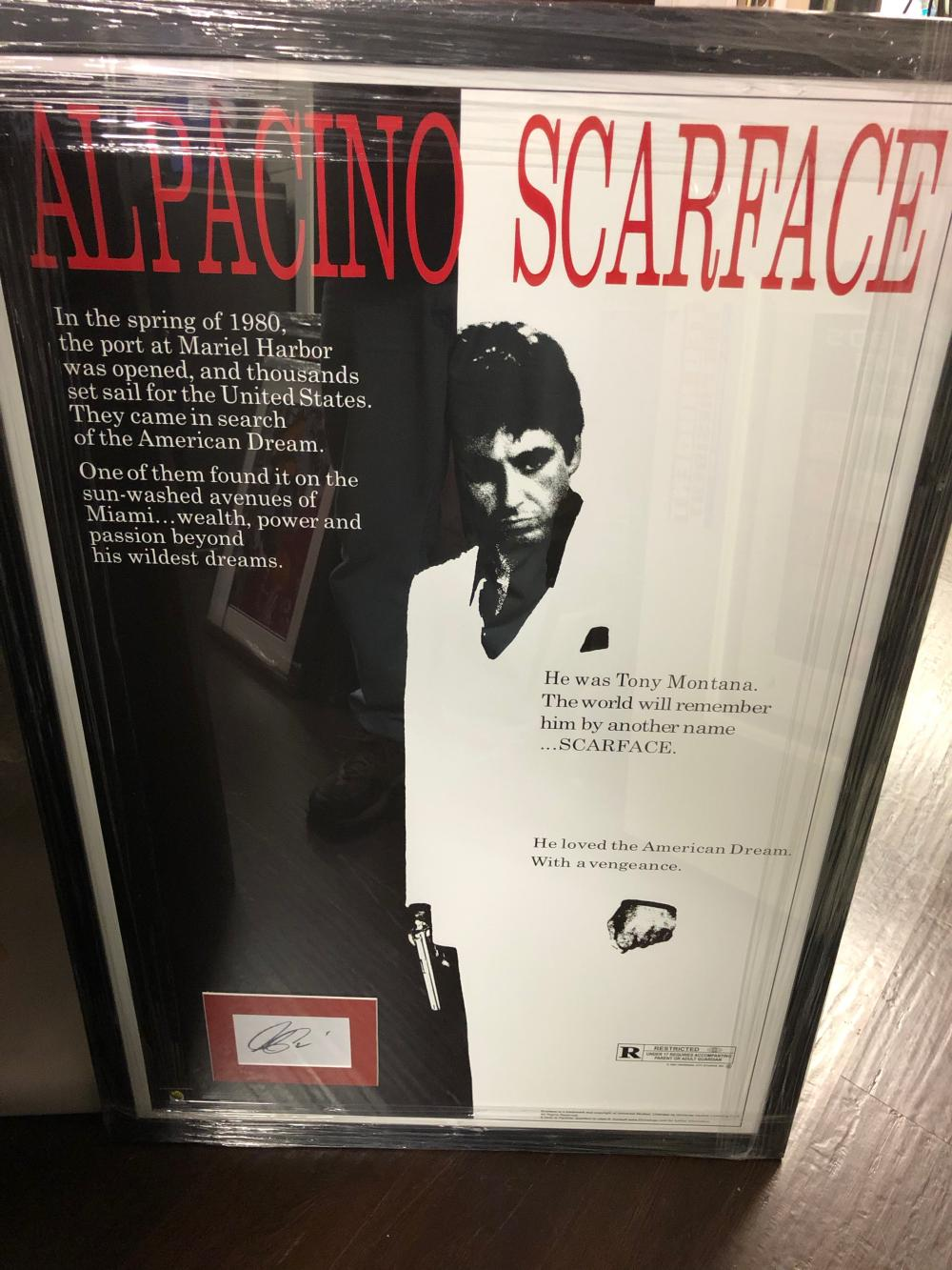 framed scarface poster with al pacino cut autograph