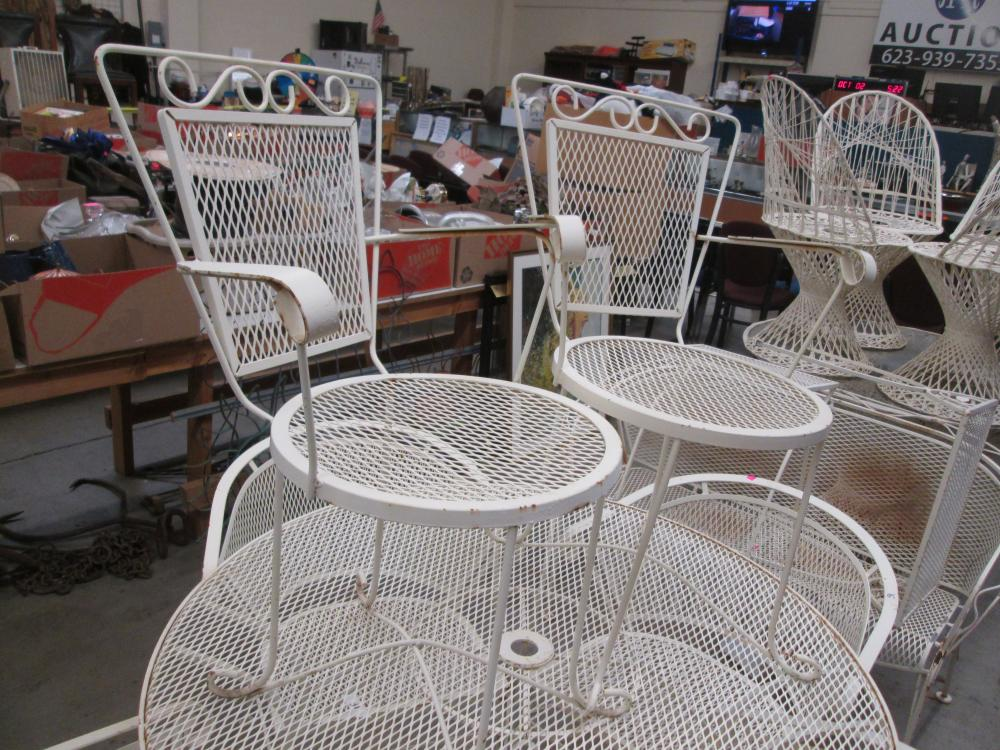 vintage woodard wrought iron chairs side