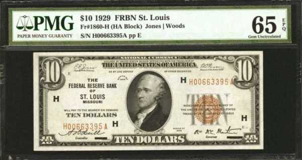 Fr. 1860-H. 1929 $10 Federal Reserve Bank Note. St. Louis. P