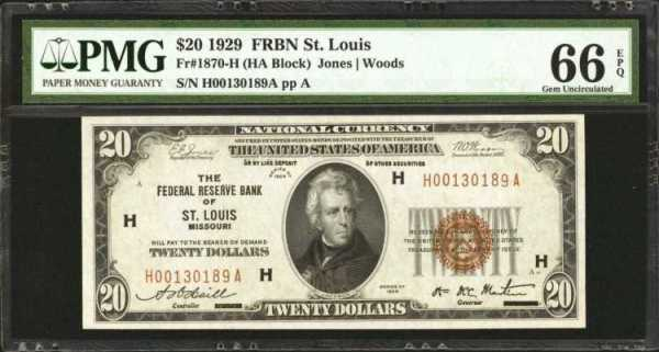 Fr. 1870-H. 1929 $20 Federal Reserve Bank Note. St. Louis. P