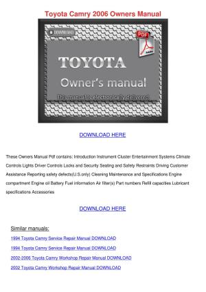 Toyota Camry 2006 Owners Manual by BrigitteBarney  issuu