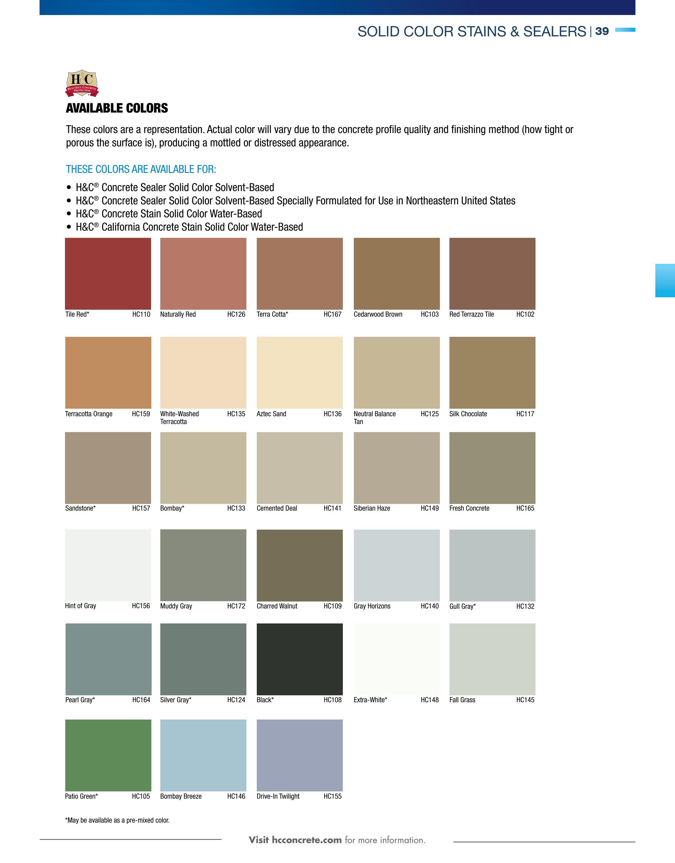 H C Concrete Stain Color Chart